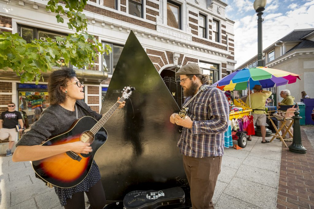 Street performers known as Buskers in Asheville, North Carolina